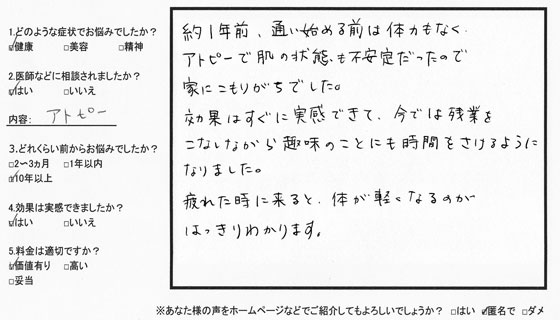 新宿口コミ:アトピー